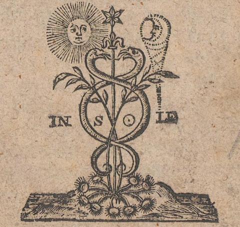 Drzeworyt z Das Geheimniss der hermetischen Philosophie przedstawiający kaduceusza